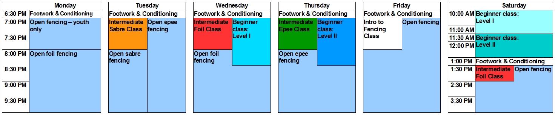 Practice Schedule Tidewater Fencing Club