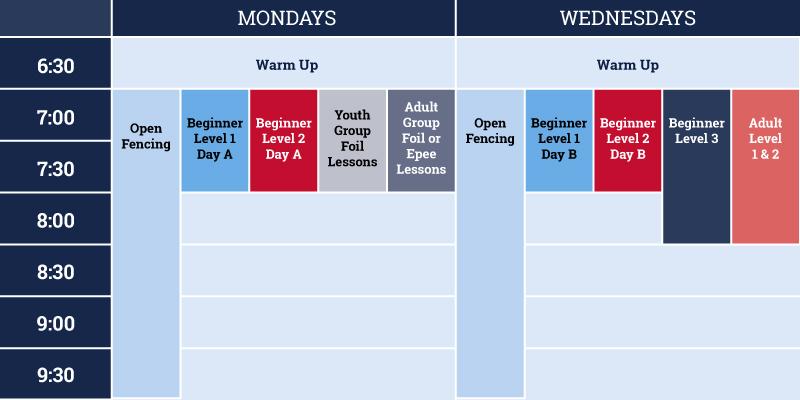 Schedule Tidewater Fencing Club