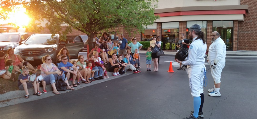 A fencing demonstration as part of Chik-Fil-A's knight-themed family night.