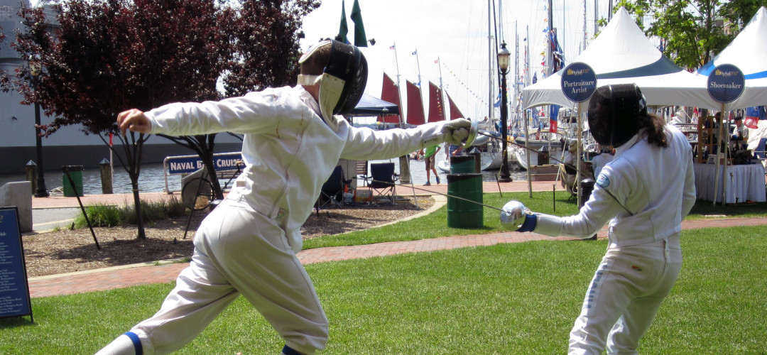 A flèche at the fencing demonstrations at OpSail 2012.