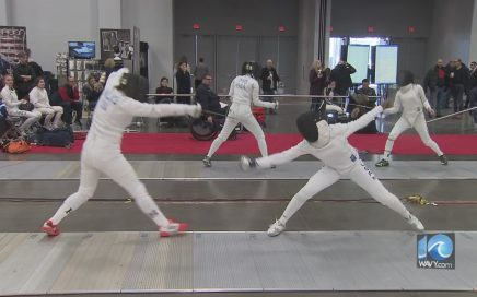 Two fencers face off at the Virginia Beach Natinal American Cup Tournament